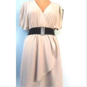 H&M Dresses - H & M Women's Gray Belted Dress Blouson Wrap 2
